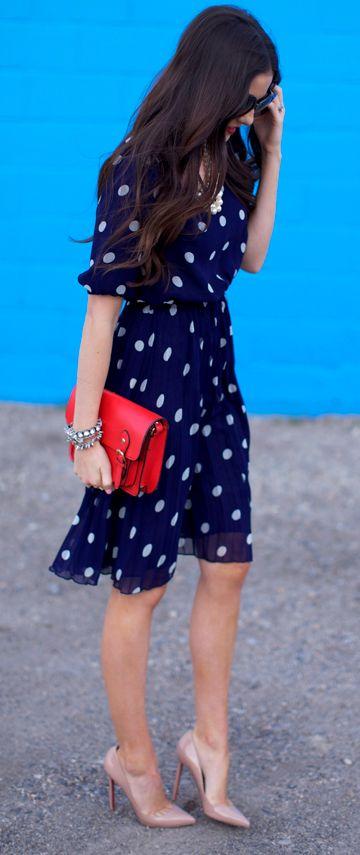 платье в горошек с чем носить 02