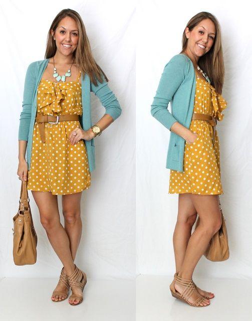 платье в горошек с чем носить 10