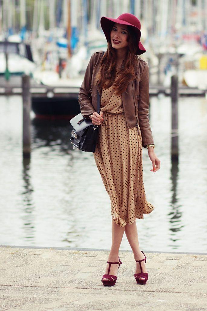 платье в горошек с чем носить 12