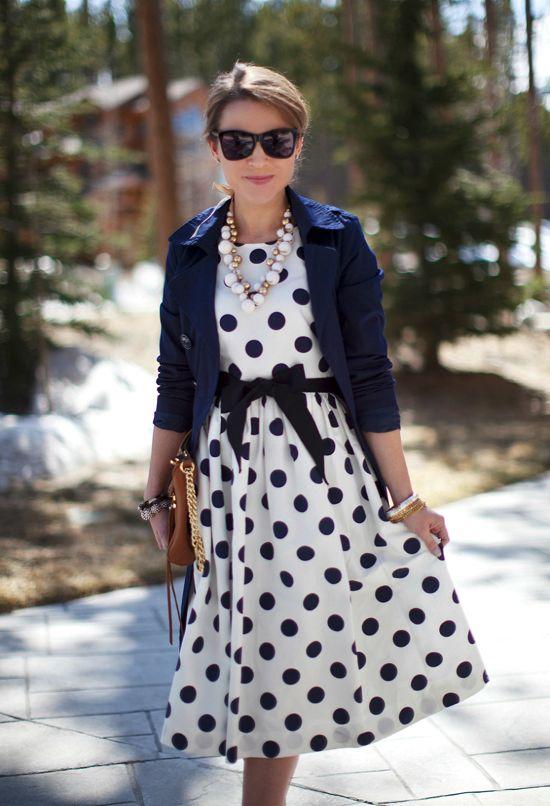 платье в горошек с чем носить 22