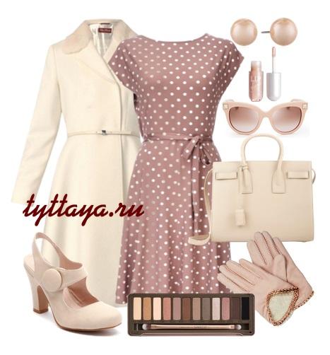 Платье в розовый горох с чем носить