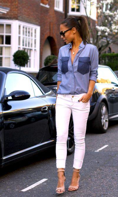 с чем носить джинсовую рубашку 15