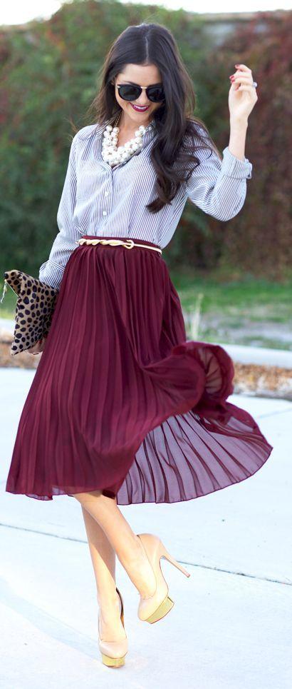 с чем носить плиссированную юбку 08