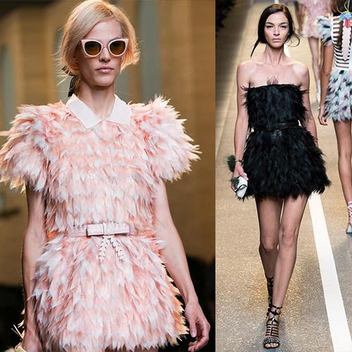 мода весна лето 2015  перья 1