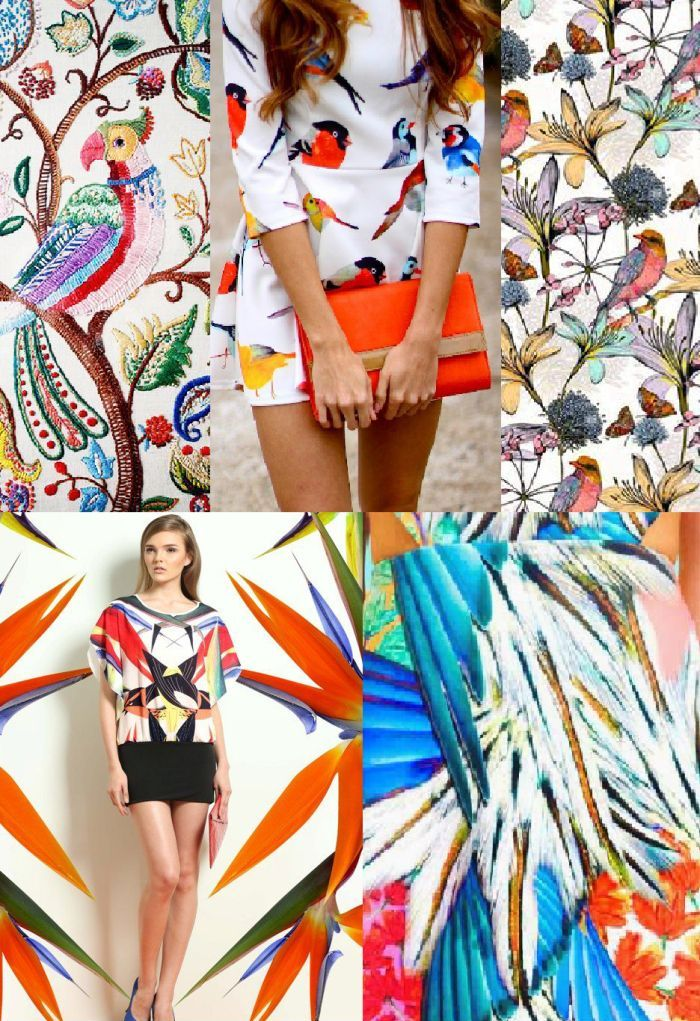 мода весна лето 2015 принт птицы
