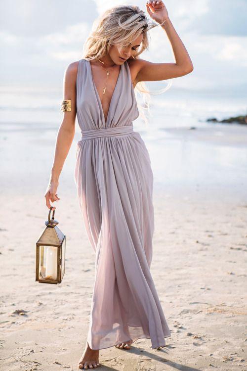 Образы с длинными шифоновыми платьями