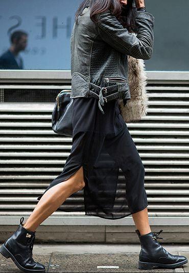 Шифоновое платье с ботинками
