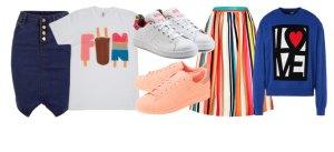Юбка и кроссовки – модное сочетание