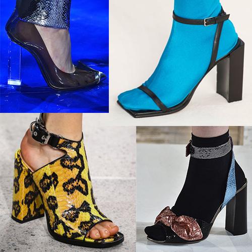 Модная женская обувь лето 2017, форма каблуков