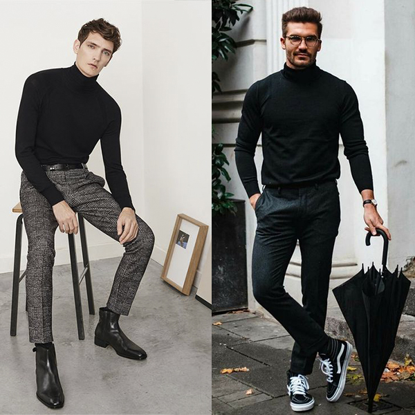 Как носить мужские водолазки и тонкие свитера?